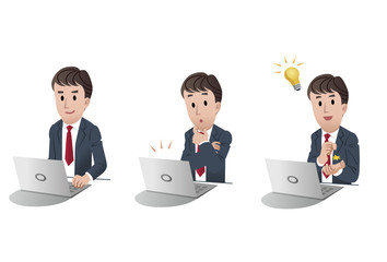 Set of businessman at a computer with idea bulb