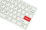 Wording Hack on computer keyboard isolated on white background
