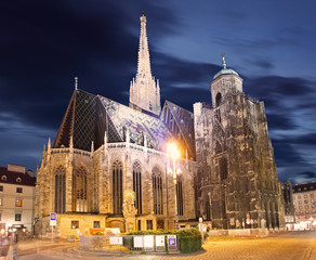 t. Stephan cathedral in Vienna at twilight, Austria
