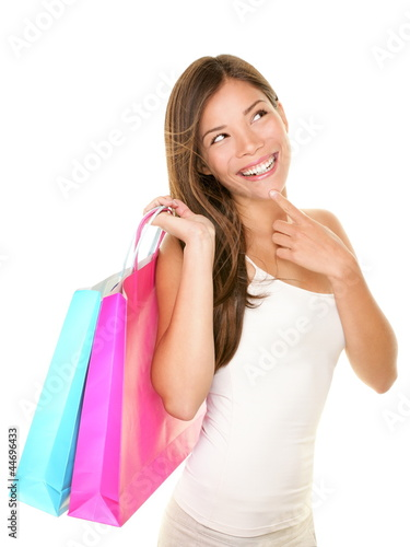 Shopping woman thinking