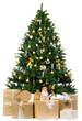 goldener weihnachtsbaum mit goldenen geschenken