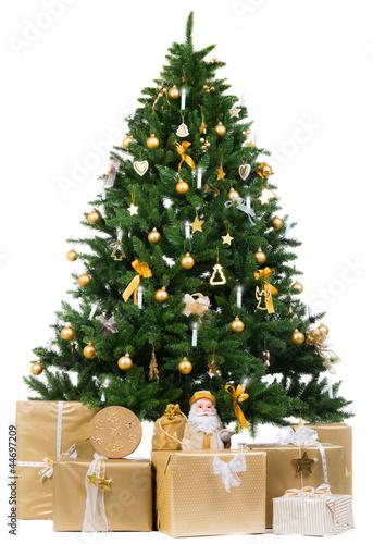 goldener weihnachtsbaum mit goldenen geschenken von. Black Bedroom Furniture Sets. Home Design Ideas