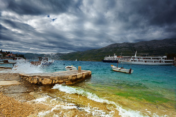 view of quay in Korcula in a storm