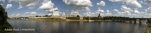 Panorama of the city of Pskov  and the Kremlin