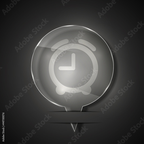 Vector glass clock icon on gray background. Eps 10
