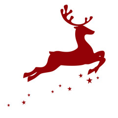 Vector illustration of a red reindeer