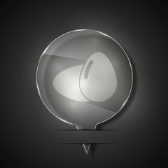 Vector glass eggs icon on gray background. Eps 10