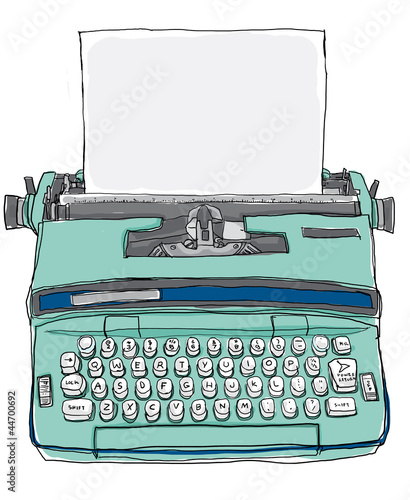 blue Typewriter vintage