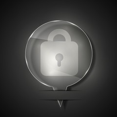 Vector glass lock icon on gray background. Eps 10