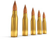 ammunition bullets on white background