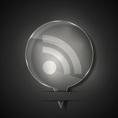 Vector glass rss icon on gray background. Eps 10