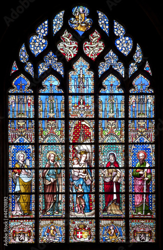 Brussels - Windowpane from church Notre Dame du Sablon