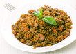 lentils with meat, mushrooms and vegetables