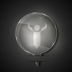 Vector glass tie icon on gray background. Eps 10