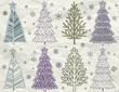 christmas trees  on beije crumple background, vector