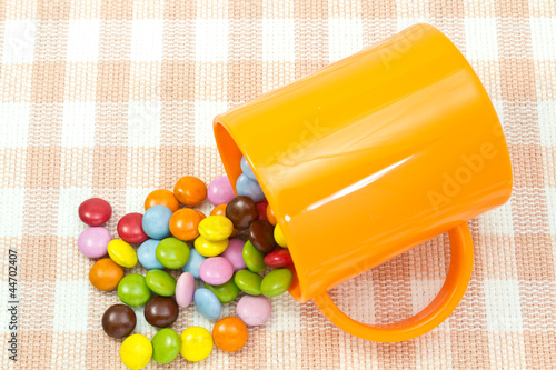 colorful chocolate and mug