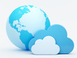 Cloud computing, clouds in front of the globe