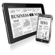 Concept - Digital News. Tablet PC and Smartphone with Business N