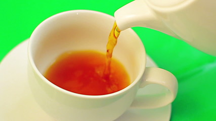 White Tea Cup luma key green screen close-up top view