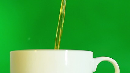 White Tea Cup luma key green screen close-up front view