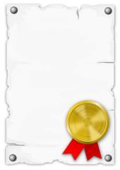 Urkunde mit Goldmedaille