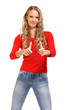 portrait of a happy young woman with thumb's up