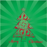 Vector christmas tree - greeting card