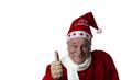 Zufriedener Weihnachtsmann zeigt Top-Daumen