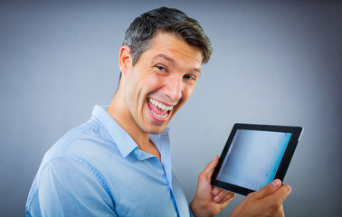 happy tablet user