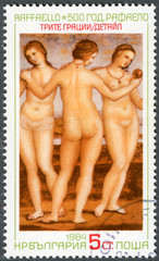 "BULGARIA - 1984: shows ""The Three Graces"", Raphael"