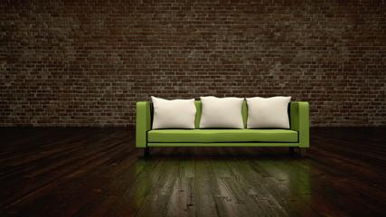Wohndesign - grünes Sofa vor Klinkerwand