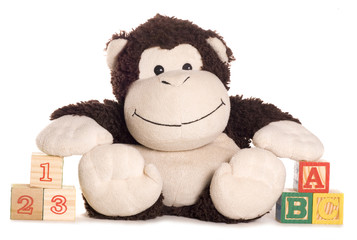 soft toy monkey with learning blocks