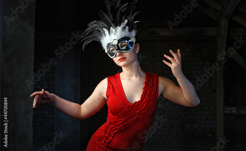 Woman in Red with Mask - Puppet Style
