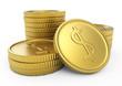 Pile of golden dollar coins
