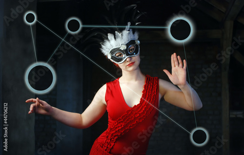 Woman in Red with Mask - communication network