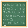 Simple hand drawn alphabet on blackboard