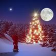 Weihnachtsmärchen leuchtender Christbaum im Wald 3D