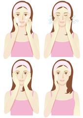 コスメ用女性4パターン(洗顔・スキンケア・マッサージなど)