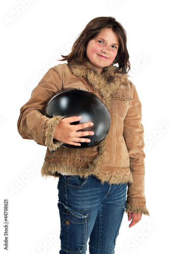 Smiling preteen girl biker with fringe jacket