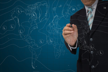 business Man drawing weather map