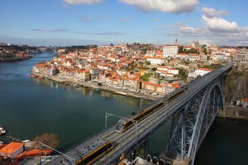 Train over Dom Luis I bridge, Porto, Portugal