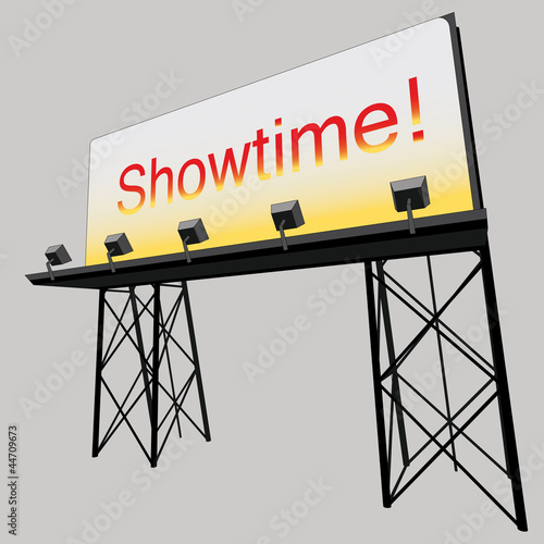 advertise billboard showtime panel on black construction