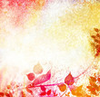 Sunny vintage leaves and nature background
