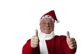 Lustiger Weihnachtsmann zeigt zwei Top-Daumen