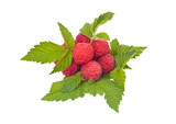 Ripe raspberries with leaves isolated