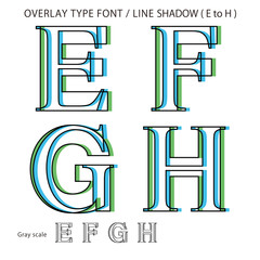 Overlay Type Font (Line Shadow Medium / E to H) #Vector