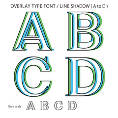 Overlay Type Font (Line Shadow Medium / A to D) #Vector