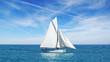 Seascape with sailboat the background of the blue sky. - 44711469
