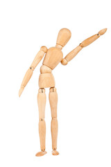Wooden dummy with raised hand