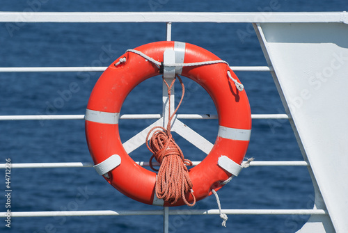 Life buoy on ferry